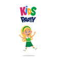 happy blond girl jumping for joy kids party on vector image vector image
