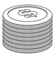 heap of coin icon outline style vector image vector image