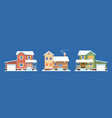 homes in snow winter houses cottages vector image vector image