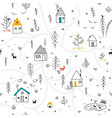 houses in winter forest seamless pattern vector image vector image