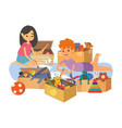 kids painting and playing with toys together vector image vector image