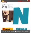 letter n worksheet with necklace object vector image vector image