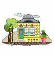 little yellow house vector image
