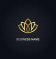 lotus flower beauty gold logo vector image vector image