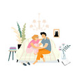 lovers first kiss at home on sofa teenagers vector image vector image