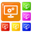 monitor settings icons set color vector image vector image