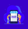 online shopping concept man and happy girl vector image