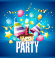 party balloon ribbon party hat cake blue backgroun vector image