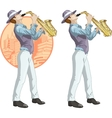 Retro musician cartoon character vector image vector image