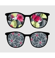 Retro sunglasses with dark flowers reflection vector image