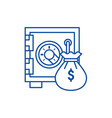 safe bank with money bag line icon concept safe vector image vector image