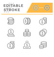 set line icons coins vector image vector image