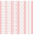 Set of seamless white lace ribbons on a pink vector image vector image