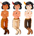 Three native american indian boys vector image