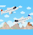 two airplanes flying in the sky vector image vector image