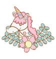 Unicorn on leaves and flowers cartoon