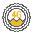 unusual flat 4g sticker icon with geometric design vector image vector image