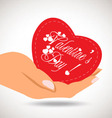 Valentine heart in hand vector image vector image