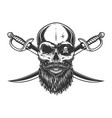 vintage skull with pirate eye patch vector image vector image