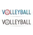 volleyball text design with ball graphic vector image