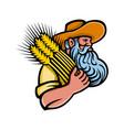 wheat grain farmer with beard mascot vector image vector image