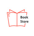 red thin line book store logo vector image