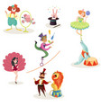 characters in circus performers and animals in vector image