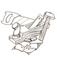 monochrome set of hammer plane saw nails isolated vector image