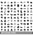 100 clouds icons set simple style vector image vector image