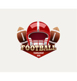american football lable with realistic objects vector image vector image