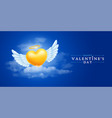 angel heart with wings in clouds vector image vector image