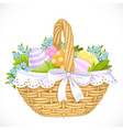 basket with easter eggs and blue flowers isolated vector image vector image