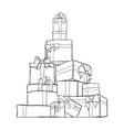 big pile of outline wrapped gift boxes mountain vector image
