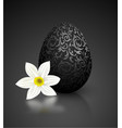 black color mat realistic egg with metallic floral vector image vector image