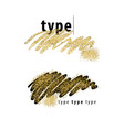 brush strokes with golden sparkles vector image vector image
