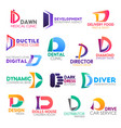 business icons letter d corporate identity vector image vector image