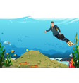 businessman swimming searching for money vector image vector image