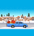 car with gift present boxes driving road over vector image vector image