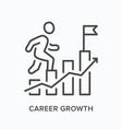 career growth flat line icon outline vector image