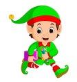 cartoon elf holding book and pencil vector image vector image