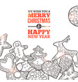 christmas card with set gingerbread vector image vector image