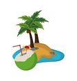 coconut cocktail and tropical island icon vector image