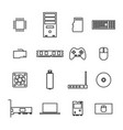 computer icons from thin lines vector image vector image