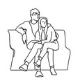 couple sitting on a bench monochrome vector image