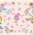 cute cat seamless pattern with little bird on vector image vector image