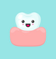 cute colorful tooth in gum vector image vector image