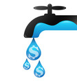 drops water money from faucet vector image