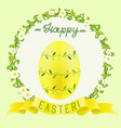 easter yellow painted egg and golden ribbon vector image
