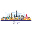 famous landmarks in europe isolated on white vector image vector image