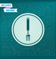 fork icon on a green background with arrows in vector image